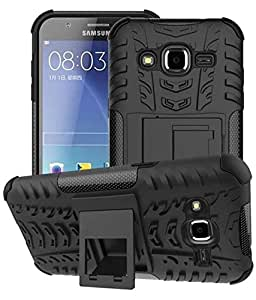 Mobiclonics® Get Free Data Cable With Rugged Hard Dual Layer Back Cover Case with Kickstand for Samsung Galaxy J2 New 2016 Model(Black)