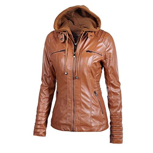 Reaso Femme Jacket Hoodie Hiver Manteaux à Capuche Blouson Zipper Veste Cuir Cardigan Mode Gilet Casual Outwear Slim Coat Fleece Parka Chaud Sweatshirt Trench Coat Marron