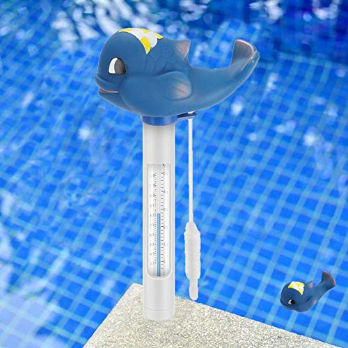 Schwimmende Pool Thermometer Wasser Temperatur Thermometer mit Saite Schwimmbad Bruchfest Thermometer Baby-Pool Thermometer Für Outdoor & Indoor Pools, Spas, Hot Tubs Aquarien & Fischteiche (Blau)