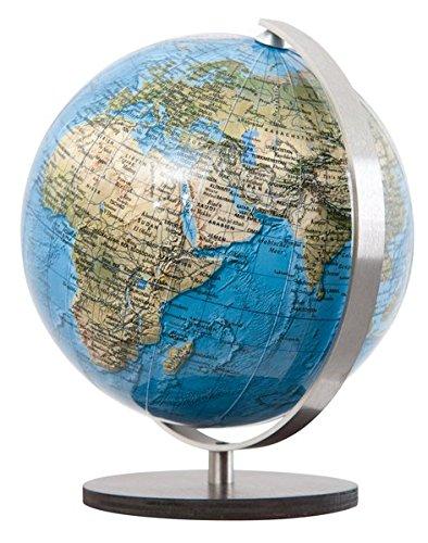 Columbus DUORAMA: Miniglobus, politisch, unbeleuchtet, 12 cm Durchmesser, handkaschiert, Holzfuß braun, Meridian edelstahl