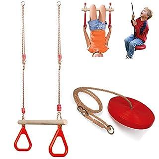 Set of Wooden Trapeze Monkey Bar Swing & Plate Disc Rope Swing Seat Garden Toy