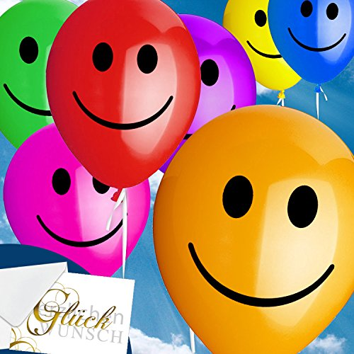 50x Smiley Bunt - Heliumballons - Rundballons - Luftballons ++ High Quality - Premiumline Luftballons ++ VERSANDKOSTENFREI vom Luftballonprofi & Heliumballon - Experten aus Deutschland galleryy ++ 100 Gas-geschenk-karte