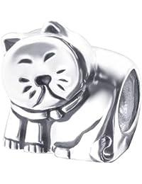 So Chic Joyas - Abalorio Charm gato animal doméstico Dodo - Compatible con Pandora, Trollbeads, Chamilia, Biagi - Plata 925