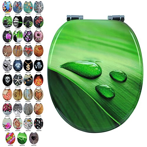 WC Sitz mit Absenkautomatik #2, MDF Holz Kern,Softclose, Antibakterielle Beschichtung, über 25 Toilettendeckel zur Auswahl (ws2578 Blatt Grün)