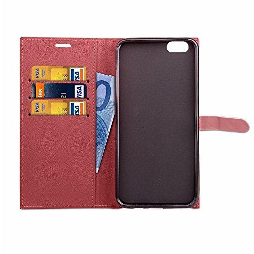 Ultra Thin Leight Gewicht PU Ledertasche Business Style Brieftasche Stand Case Retro Folio Tasche mit Gürtelschnalle & Card Slots für iPhone 6 & 6s ( Color : Gray ) Red
