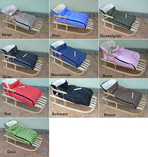 Holzschlitten mit Rückenlehne mit Winterfußsack 90cm 10 Farben Schlitten aus Holz (Marineblau)