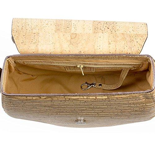 Saddle Bag for Women Leather Free Handbag Cross-Body Woman Vegan Cork Brown Tree - 6