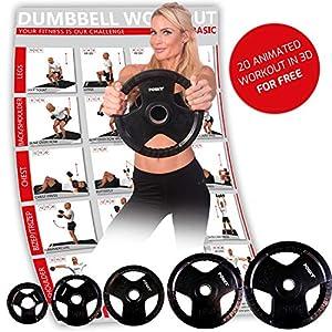 POWRX Olympia Hantelscheiben 2er Set inkl. Workout I gummierte Gewichte für Langhanteln I Verschiedene Gewichtsvarianten 2,5-20 kg I Lochdurchmesser 51 mm