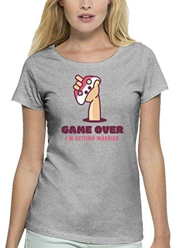 Junggesellenabschieds JGA Hochzeit Damen T-Shirt aus Bio Baumwolle Game Over - I'm Getting Married Heather Grey