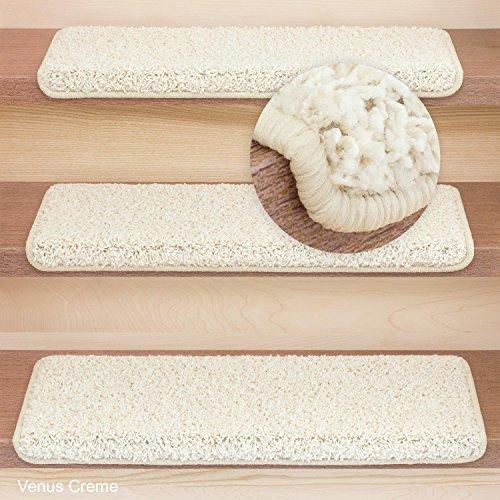 Stufenmatten Treppenmatten Shaggy - Venus Rechteckig 6 aktuelle Farben 15 Stück ! (Creme)