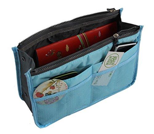 dodoing Sac à main dossier Trading Sac à main organiseur sac shopper ordre Voyage Maquillage Cosmétique Tool Stylet, bleu (Noir) - M2018AB