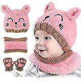 GIKPAL Baby Hüte Wintermütze, Schal Mütze Und Handschuhe Set Baby Strickmütze Warm Beanie Cap mit Kreis Schleife Schal