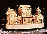 TS Exclusiv Weihnachtsstadt Dorf Haus mit Zug beleuchtet Holz weihnachtliche Deko