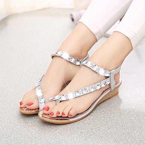 ENCOCO Sandalen, Damen Flach Thong Slingback Sandalen, Crystal Sling Back Sandale, Flip Flop Gladiator Schuhe, silber, US 7.5=UK 8.5=EU 38=C 37 Back Thong Sandal