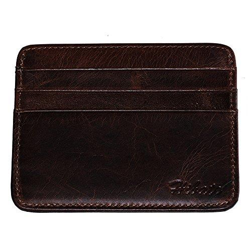 Hibate - porta carte di credito, con tasche sulla parte anteriore, in stile vintage, al 100% in vera pelle di vacchetta, a_coffee (grigio) - d029-cof