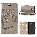 MOONCASE Lumia 930 Hülle, Schmetterling Tasche Pu Leder Klappetui Bookstyle Schutzhülle für Nokia Lumia 930 Handyhülle Magnetisch [Card Slot] TPU Case mit Standfunktion und Wrist Strap Grau