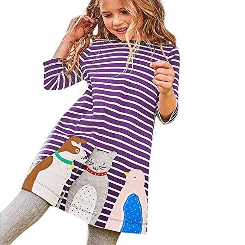 Pageantry Kleid Baby Mädchen Sommer Baumwolle Kinder Kleid Süß Freizeit Baumwolle Tiere Gedruckt Streifen Langarm Playwear Kleid Cartoon Raum Rakete Drucken Minikleid Mit Tasche
