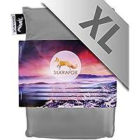 Silkrafox XL - Saco de dormir ultraligero para las excursiones de senderismo, ancho extragrande 95 cm, los viajes, las acampadas, seda artificial, gris