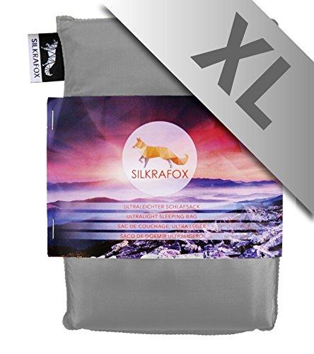 Silkrafox XL - Sac de couchage ultra-léger, XL 95cm x 210cm, le compagnon idéal des randonnées, des voyages ou du camping