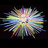 """Braccialetti Luminosi Fluorescenti Glow Sticks Barre Luminose Collane con Connettori del Braccialetto 100 Pezzi Colori Misti 8 """" per Bambini Compleanno Feste Natale Halloween Capodanno"""