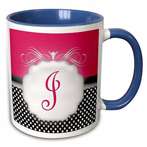 3drose Bev Newcomer Monogramm Designs-Elegant Pink mit Schwarz und Weiß Polka Dot Monogramm Buchstabe J-Tassen 11-oz Two-Tone Blue Mug blau/weiß (Und Dot Polka Tassen Weißen Schwarzen)