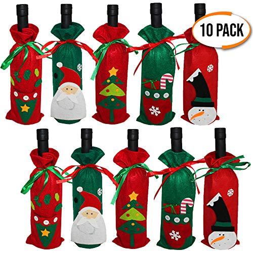 (The Twiddlers 10er Pack Weinflaschen Taschen Weihnachtsdesign - 5 Verschiedene Weihnachten Designs - Perfekte Flaschend Weinflaschen ekoration für Ihren Weihnachtstisch - Ideal für Wein Dekoration)