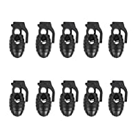 Footful Grenade Shoelace Stoppers Shoe Lace Locks Pack of 10Pcs Black