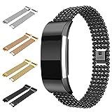Sansee Armband für Fitbit Charge 2, Edelstahl Uhrenarmband Band Strap für Fitbit Charge 2 (1663 Schwarz, Modelle zur Auswahl: für Fitbit Charge 2)