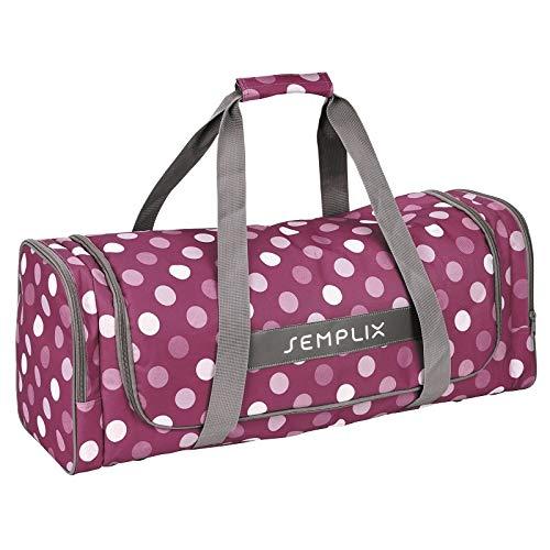 SEMPLIX Plottertasche Polka Dots - in verschiedenen Farben | 62 x 22 x 25 cm | geräumige Aufbewahrunsgtasche für Ihren Plotter | strapazierfähiger, abwaschbarer und gefütterter Außenstoff … (beere/rosa)