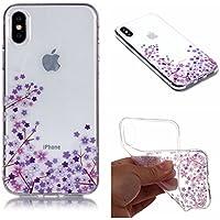 QFUN Funda iPhone X Silicona Transparente, Suave Carcasa Flexible con Dibujos [Flor de Cerezo Morado] Ultra Slim Fina Gel TPU Bumper Case Anti-Arañazos Antigolpes Cubierta