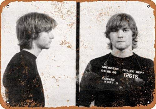 Laptopo 1986 Kurt Cobain Mug Shot - Vintage Look 10 x 14 Metal Sign