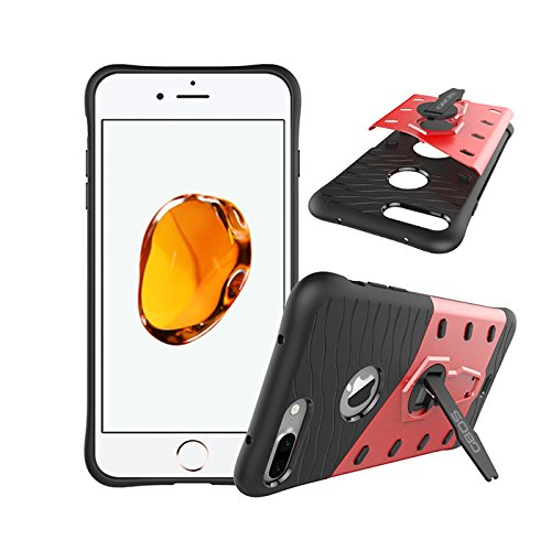 Apple iPhone 7 Plus Case, GBOS® Bleu Sniper Defender Hybrid Armour antichoc Case Cover Avec Béquille rouge