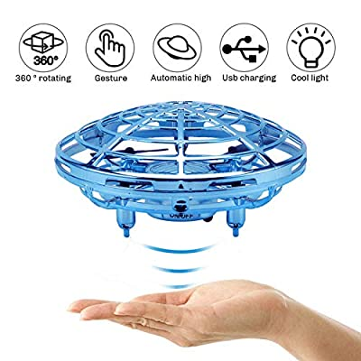 Mini Drone Flying Toy for Kids Adults,Rechargeable Hand-Controlled UFO Drone, Infrared Induction Quadcopter Aircraft 360° Rotating Helicopter Flying Ball,Christmas/Birthday Holiday Drone Toy Gift