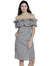 Athena gingham off-shoulde frilled dress