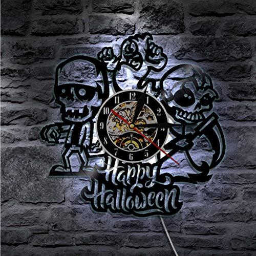 Guokee 1 Stück Happy Halloween Schädel Und Geist Wanduhr Aus Vinyl Record Vinylwandkunstdekor Geschenk Für Schädel Liebhaber