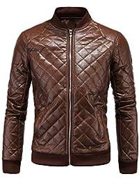 5138929b73490 Elonglin Veste de Moto Hommes en Similicuir Veste Biker Special Vintage  Slim Fit Modern Loisir