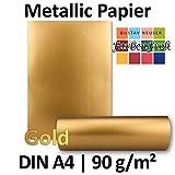 Metallic Papier DIN A4 | Gold Metallic | 25 Stück | glänzendes Bastelpapier mit 90 g/m² | Rückseite Weiß | Ideal für Einladungen, Hochzeiten, Bastelarbeiten oder Besondere Briefe