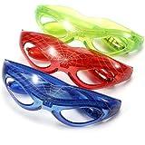 MECO Blinkende LED Brille Spinnennetz Spinne Spider Party Karneval Man Leuchtbrille in Farben Auswahl