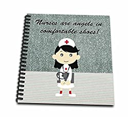 3dRose Nurses are Angels in Comfortable Shoes, Cute Nurse with Dark Hair - Mini Notepad, 4 by 4-inch