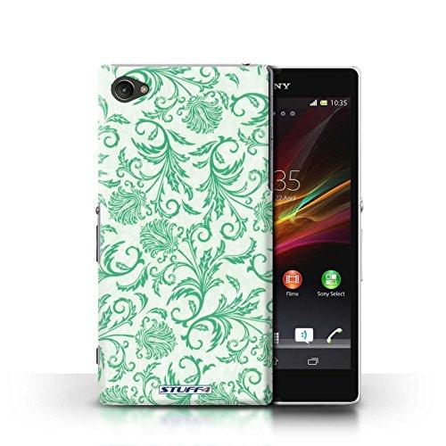 Kobalt® Imprimé Etui / Coque pour Sony Xperia Z1 Compact / Fond Violet conception / Série Fleurs Fleurs Vertes