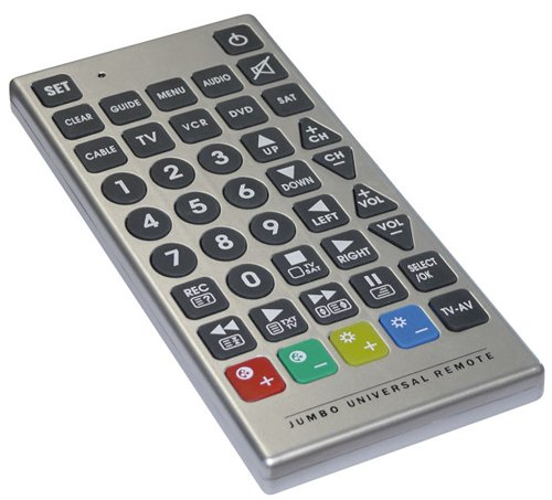 Universal Fernbedienung Jumbo Universalfernbedienung mit extra große Tasten für unterschiedliche Geräte TV, Videorecorder, DVD, Audioanlage, usw.
