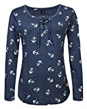 Fleasee Damen Casual Langarm-Shirt mit Kordeln|Basic-Shirt|Lady Basic Langsleeve|Anker Druck Oberteile