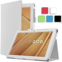 ELTD ASUS ZenPad 10 Z300C cover, Book-style Funda de piel de cuerpo entero para ASUS ZenPad 10 Z300C con la función , Blanco