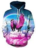 Bfustyle Unisex 3D gedruckt Hoodie Kordelzug Rainbow Unicorn freche Sweatshirt mit großer Tasche