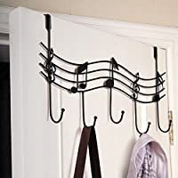 RFKMS Door Hanger 5 Hooks Metal Music Note Rack for Coat,Towel,Bag,Hat Home Bathroom Organiser Wall Decor