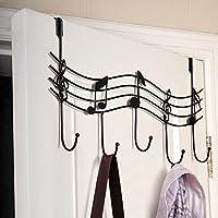 SDYDAY Door Hanger Hook, Door Back Metal Music Note Wall Hooks Kitchen Bathroom Organizer Hanger Hooks With 5-Hook Over Door Hanger, for Coat, Towel, Bag, Robe