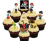 Pirates Pack de fête, coloré, Kids 'Décorations de gâteaux comestibles–montant comestible pour cupcakes, Pack of 72