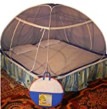 #2: Healthy Sleeping Foldable Polyester One Colour Double Bed Mosquito Net (Blue)