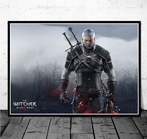 PWERWOTAM Witcher 3 Videojuego Art Poster Canvas Painting Wall Picture Decoración para el hogar Carteles e Impresiones 40X60Cm Sin Marco