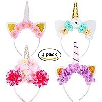 Runfon 4PCS Serre-tête Licorne Fleurs Halloween Chapeau Déguisement Bandeau Feutre Corne Oreilles Mignon Licorne Unicorn Cosplay Costume (Quatre Couleur)